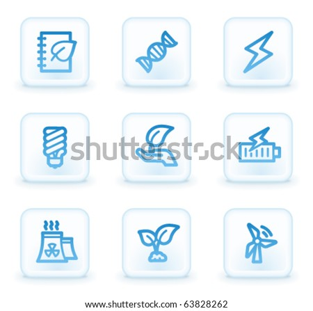 Ecology web icons set 5, white square buttons - stock vector