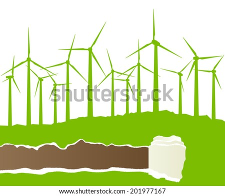 Ecology wind generator vector background with ripped paper copy space - stock vector