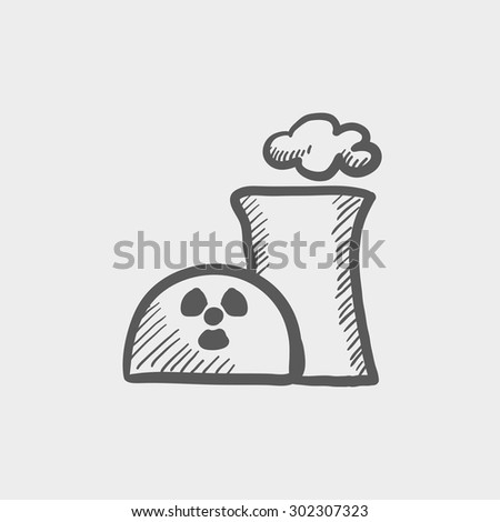 Ecology with propeller sketch icon for web and mobile. Hand drawn vector dark grey icon on light grey background. - stock vector