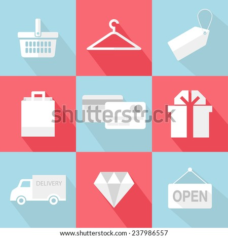 Ecommerce and shopping icons. Vector flat icons set with long shadow. Illustrations and concepts for web and mobile applications - stock vector