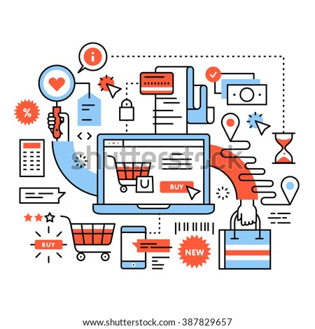 Ecommerce business concept. Purchasing goods in internet store, online shopping cart with products, order delivery and payment. Thin line art flat illustration with icons. - stock vector