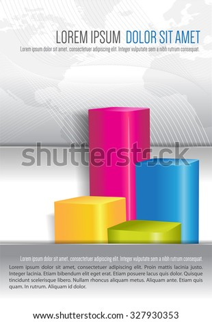 Economic abstract background for brochure cover with color graph - stock vector