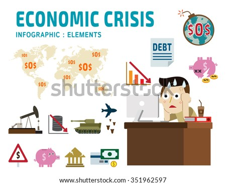 economic crisis. frustrated business man cartoon character. falling graph of a stock market. set flat icons modern design. isolated on white background. financial crisis graphic illustration. - stock vector