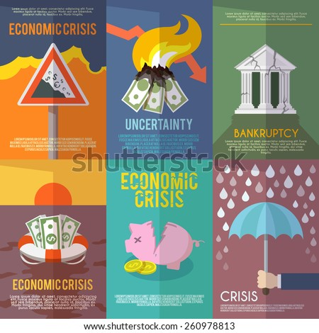 Economic crisis mini poster set financial bankruptcy flat isolated vector illustration - stock vector