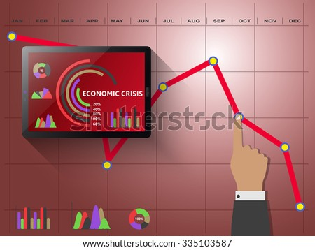Economic crisis on the global market - stock vector