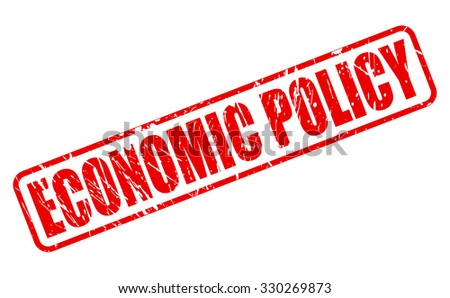 ECONOMIC POLICY red stamp text on white - stock vector