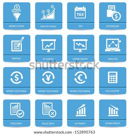 Economics icons,Blue version,vector - stock vector