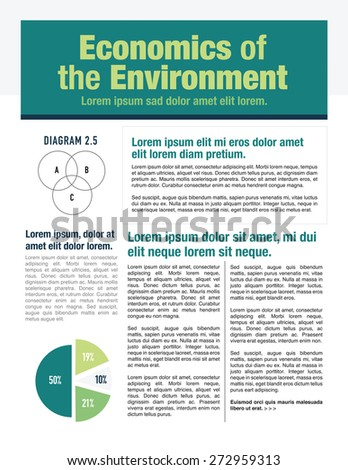 Economics of the environment newsletter for use with business or nonprofit - stock vector