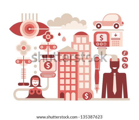 Economy and Money - isolated vector illustration on white - stock vector