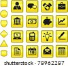 Economy Icon on Yellow Sign Button Collection Original Illustration - stock vector