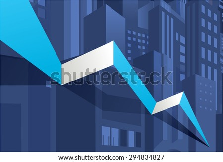 Economy stock market crash down, meltdown, go down. City building background. - stock vector