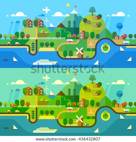 Ecosystem - a beautiful coast with the tourist attractions . Rest zone. Transport connection - stock vector