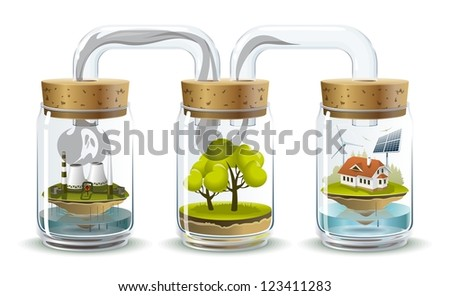 Ecosystem. Environmental illustration delicate balance and depending on the nature of human. - stock vector