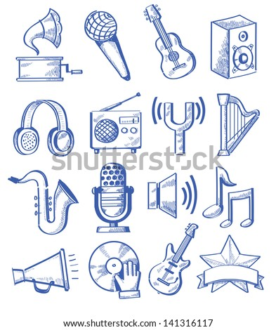 ector hand drawn music icons set on white - stock vector