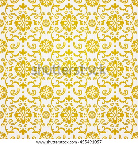 ector seamless pattern with golden ornament. Vintage element for design in Victorian style. Ornamental lace tracery. Ornate floral decor for wallpaper. Endless texture. Bright pattern fill.  - stock vector
