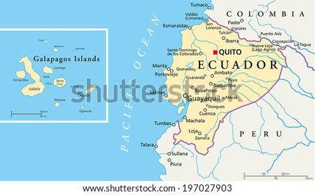 Ecuador and Galapagos Islands Political Map with capital Quito, with national borders, most important cities, rivers and lakes. Vector illustration with English labeling and scaling. - stock vector