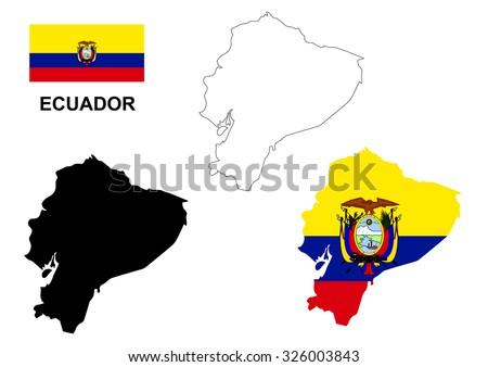 Ecuador map vector, Ecuador flag vector, isolated Ecuador - stock vector