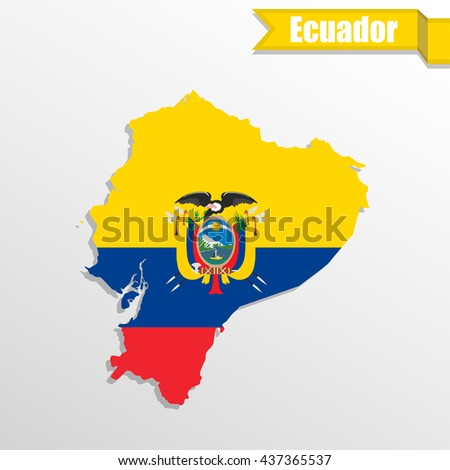 Ecuador map with flag inside and ribbon - stock vector