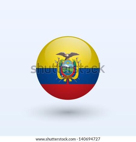 Ecuador round flag. Vector illustration. - stock vector