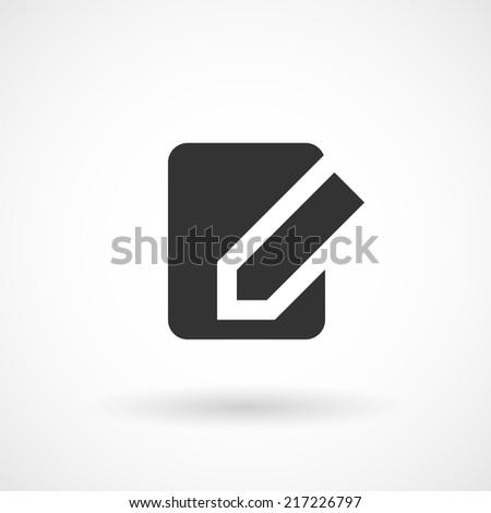 Edit document negative icon. Modern minimalist mobile app ui flat simple icon. - stock vector