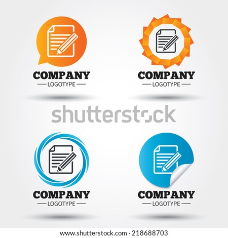 Edit document sign icon. Edit content button. Business abstract circle logos. Icon in speech bubble, wreath. Vector - stock vector