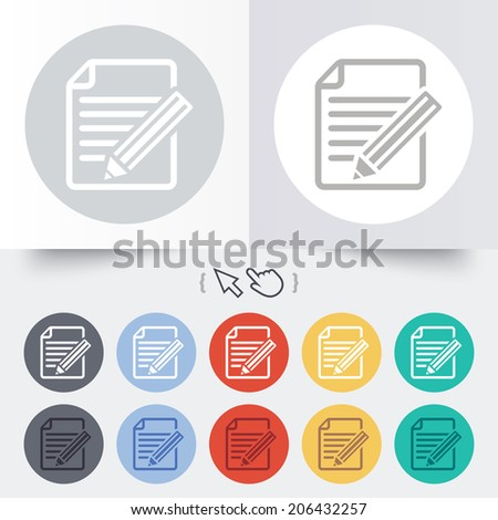 Edit document sign icon. Edit content button. Round 12 circle buttons. Shadow. Hand cursor pointer. Vector - stock vector