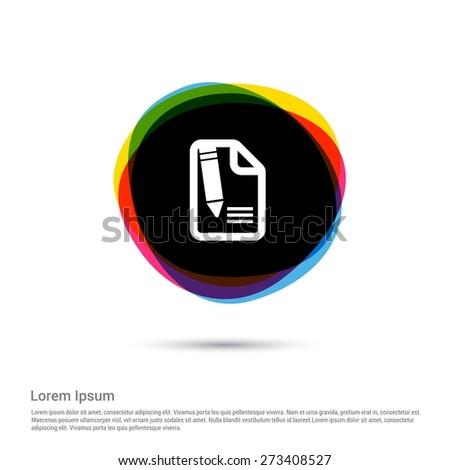 Edit Icon, White pictogram icon creative circle Multicolor background. Vector illustration. Flat icon design style - stock vector