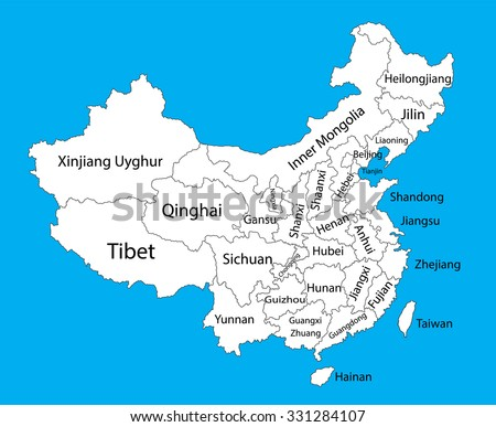 Editable blank vector map of  China. Vector map of China isolated on background. High detailed. Autonomous communities of China. Administrative divisions of China counties, separated provinces. - stock vector