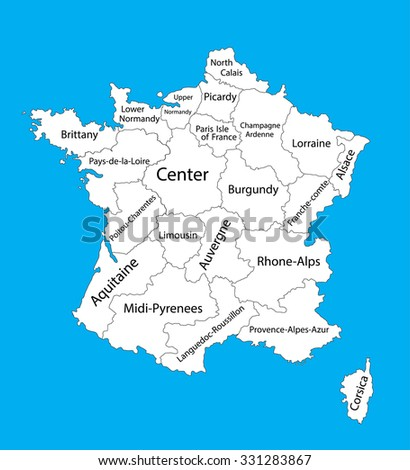 Editable blank vector map of  France. Vector map of France isolated on background. High detailed. Autonomous communities of France. Administrative divisions of France, separated provinces. - stock vector