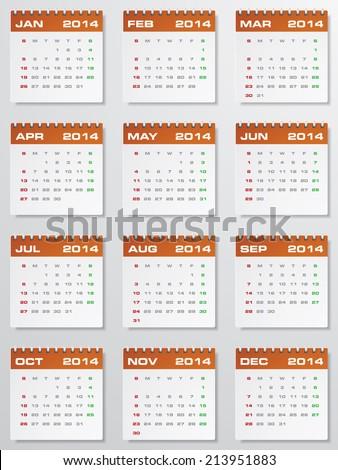 Editable Calendar 2014.  - stock vector