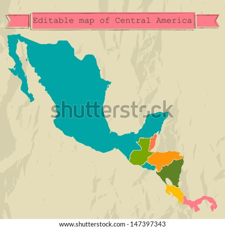 Editable Central America map with all countries. Vector illustration EPS8 - stock vector