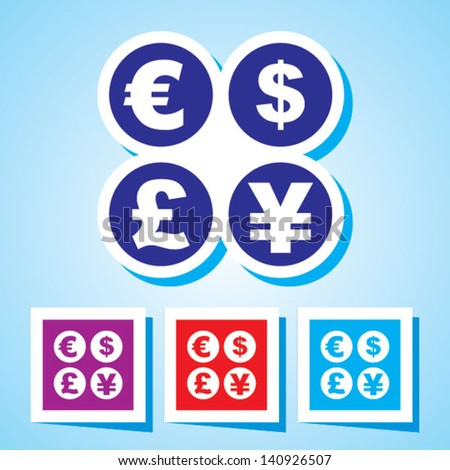 Editable Colourful Vector Icon of Currency signs - dollar, euro, yen and pound Eps 10 - stock vector
