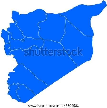 Editable EPS10 vector map with the provinces of Syria with all province as selectable path. - stock vector