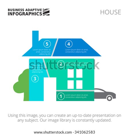 Editable infographic template of house diagram divided into five segments with car and tree silhouettes, blue and green version - stock vector