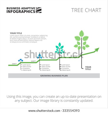 Editable infographic template of tree chart template, blue and green version - stock vector