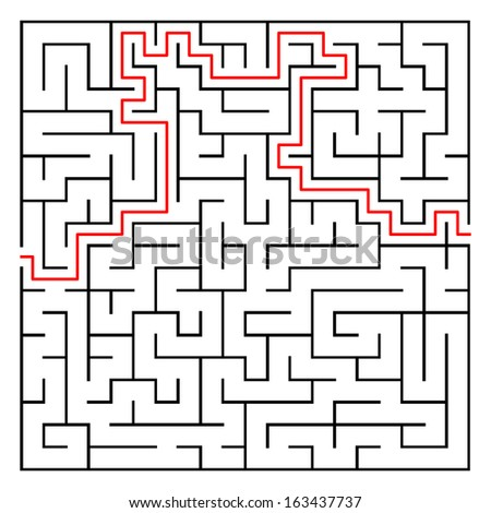 Editable Maze, labyrinth element with solution - stock vector