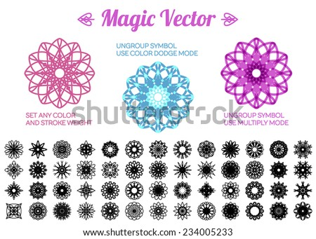 Editable round east ornament set. Vector symbols - stock vector
