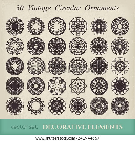 Editable round east ornament set. Vector symbols on retro background - stock vector