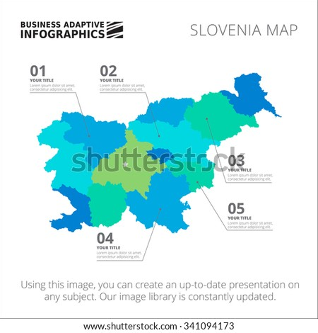 Editable template of detailed map of Slovenia, isolated on white - stock vector