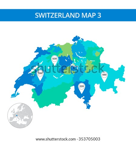 Editable template of detailed map of Switzerland with map pointers and country silhouette on world map, isolated on white - stock vector