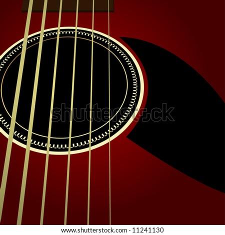 Editable  vector background - Dark acoustic guitar close up - stock vector