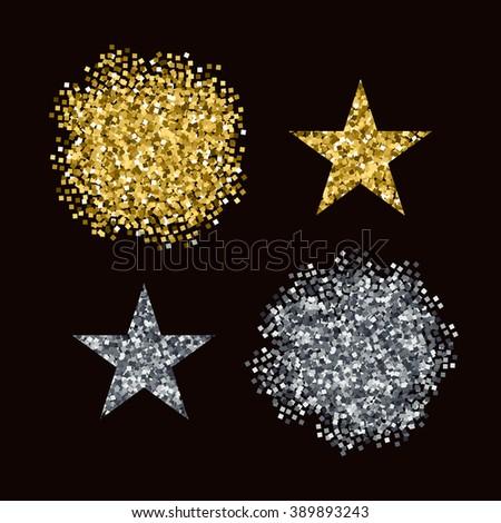 Editable vector brushes Golden and Silver glitter - stock vector