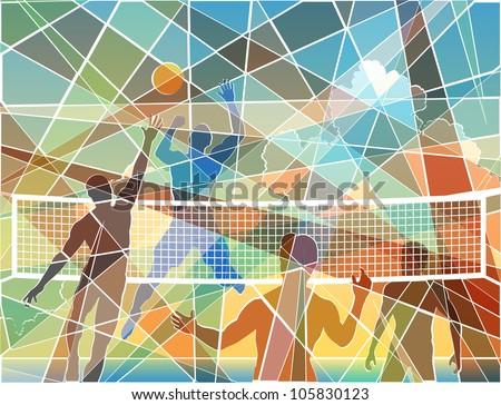 Editable vector colorful batik mosaic design of four men playing beach volleyball - stock vector