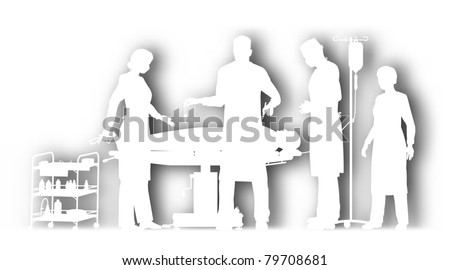 Editable vector cutout illustration of surgery in an operating theater with background shadow made using a gradient mesh - stock vector