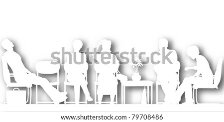 Editable vector cutout silhouettes of people sitting in a waiting room with background shadow made using a gradient mesh - stock vector