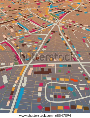 Editable vector illustration of a generic colorful street map without names - stock vector