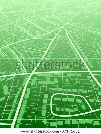 Editable vector illustration of a generic green street map without names - stock vector