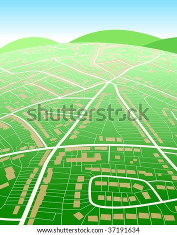 Editable vector illustration of a generic street map and green hills - stock vector