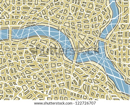 Editable vector illustration of a generic street map with no names as a broken mosaic - stock vector