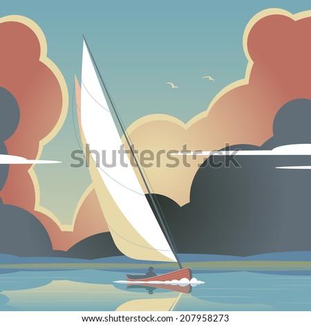Editable vector illustration of a man sailing a yacht on calm water          - stock vector